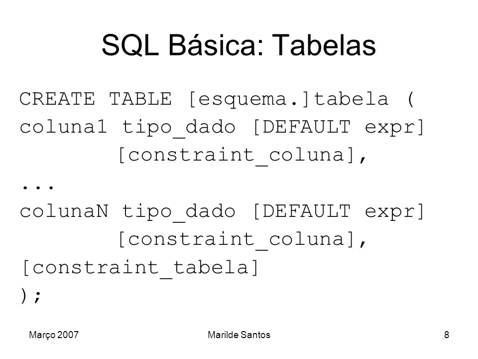 SQL Básica: Tabelas CREATE TABLE [esquema.]tabela (